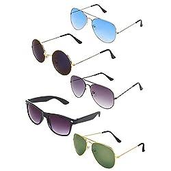 Zyaden Combo of 5 Aviator, Aviator, Aviator, Round & Wayfarer Sunglasses-Combo 3244