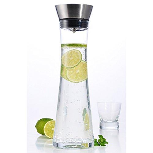 Wasserkaraffe aus Glas mit Ausgießfunktion, Füllmenge 1 Liter • Glaskaraffe Edelstahl Ausgiesser...