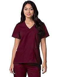 9a489baf159 ADAR UNIFORMS Medical Uniforms Women's Mock Wrap Solid Trim Hospital Nurse  Scrub Top