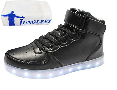 (Présents:petite serviette)JUNGLEST® LED Basket Sneaker Chaussure Lumière Changeable 7 Couleur Mode Montant Mixte Adulte Homme Femme Clignontant Lumineux Tennis Sport US Noir