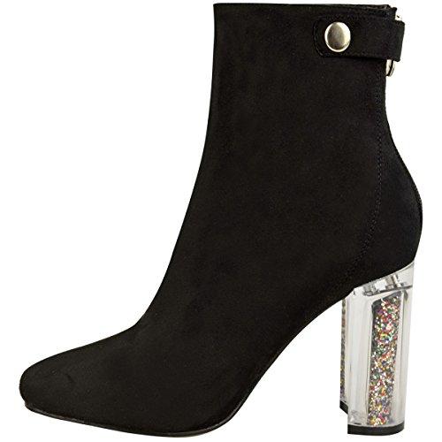 Neu Damen Damen Stiefeletten Glitzer Perspex Blockabsatz Modische Schuhe Größe Schwarz Kunstwildleder
