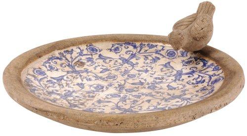 Esschert Design USA Keramik birdbath-Blue/weiß (Birdbath Stein)