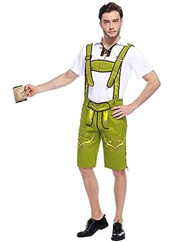 Honeystore Herren Halloween Kostüme Bedienung Uniform Cosplay Allerheiligen Kleider für Oktoberfest Grün (Totoro Kostüm-ideen)