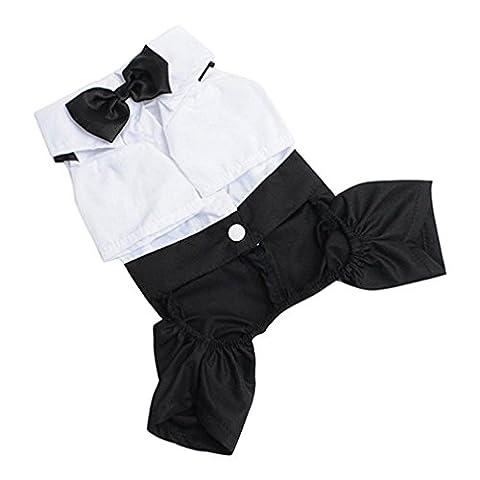 Alcyonée pour animal domestique Chien Chat Vêtements Prince Smoking Nœud papillon pour chiot JumpSuit Manteau Costume