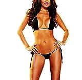 KamX Women's Synthetic Three Point Bikini (KR2075, Black, Free Size)