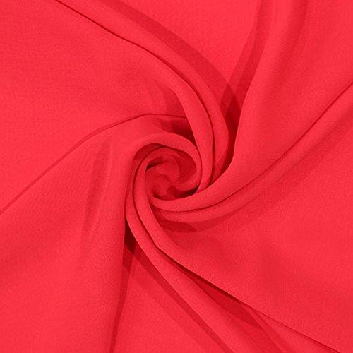 Chiffon-Crêpe - rot, uni, 145 cm breit, Meterware
