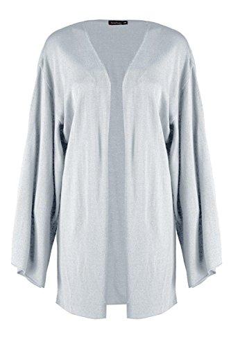 gris Femmes Layla Wide Sleeve Kimono Cardigan Gris