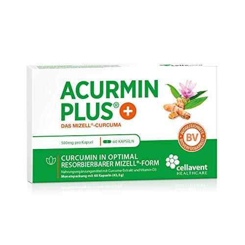 Kurkuma Kapseln hochdosiert von Acurmin PLUS: Das Mizell-Curcuma (Curcumin) - C14-Zertifiziert - OHNE Piperin/Bioperin/Pfeffer von Cellavent Healthcare - 60 Kapseln natürliches Kurkuma -