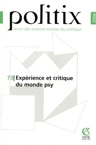 Politix, N° 73 : Expérience et critique du monde psy