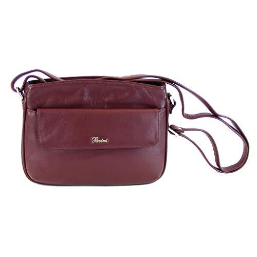 Pavini Damen Tasche Crossovertasche Vegas Echt-Leder bordo 15013 Handyfach klein