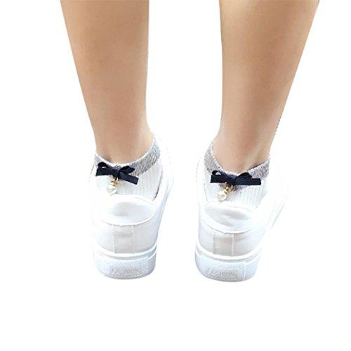 Upxiang Frauen Knöchelsocken, Normallack Ultraschall Socken, Fersen Schleiersocken mit Perlen Kurzsocken (Weiß) (Comfort Low Socken)