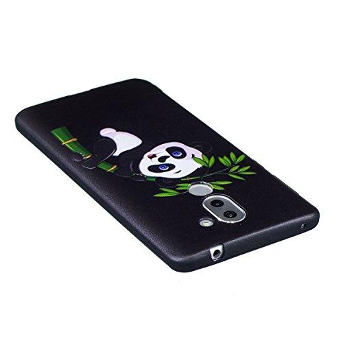 Huawei Honor 6X Custodia, Cover Huawei Honor 6X, JAWSEU Huawei Honor 6X Protectiva Bumper Bella Ultra Sottile 3D Sollievo Modello Silicone Custodia Cover Protezione Antiurto Liscio Flessibile Gomma Ge Panda Bambù