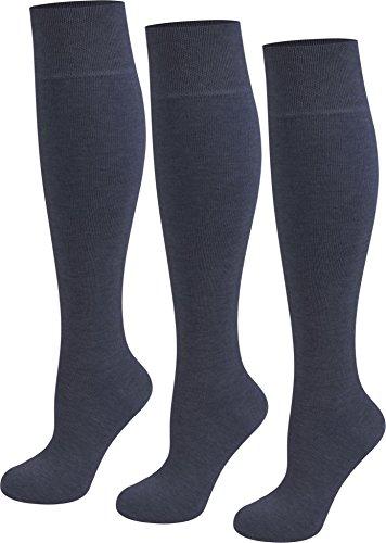 6 Paar Original normani® Business Kniestrümpfe Baumwolle mit Elasthan ohne Gummidruck Farbe Marine Größe 39/42