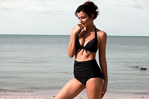 Angerella Vintage Bademode mit Faltenwurf hohe Taille Bikini Set (SST016-B1-L) -