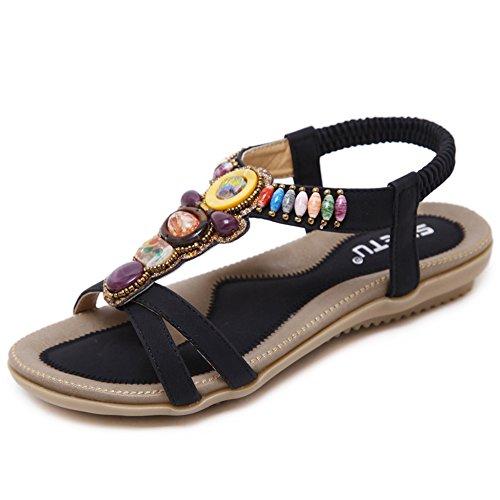 Woky Damen Bohemia Sandalen mit Strass Perlen Sommer Strand Schuhe Freizeit Flach Sandalette Rosa Peep Toe