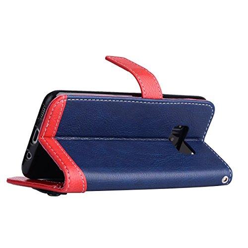 Bookstyle Horizontale Flip Stand Case Litchi Texture Dual Farbe genäht PU Leder Tasche mit Lanyard & Niet Button für Samsung Galaxy S8 ( Color : Brown ) Blue