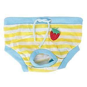Lyanther Petit Chiot Femelle Chiot vêtements physiologique hygiénique Culotte Pantalon (Bleu Jaune et Blanc, s)