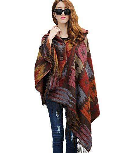 ZKOO Poncho mit Kapuze Damen Winter Herbst Ethno Design Cape Umhang mit Fransen Oversized Poncho-Schal für Frauen