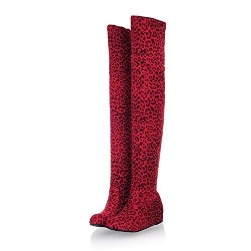 Damen Über Knie Schenkel Stiefel Schwarz Runder Kopf Nike Dunk Sky Hi Warm halten Wildleder Herbst Winter Partyarbeit , Red leopard , EUR 40/ UK 7 (Stiefel Patent-plattform Knie High)