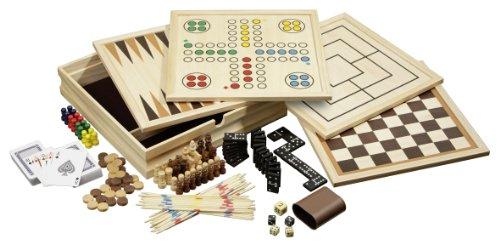 Philos 3098 - Holz-Spielesammlung, medium, mit 10 Spielmöglichkeiten (Brettspiel-sammlung)