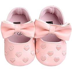 Culater® Bambina Bowknot Pelle Sneaker Antiscivolo Scarpe Suola Morbida (6 ~ 12 mesi, Rosa)