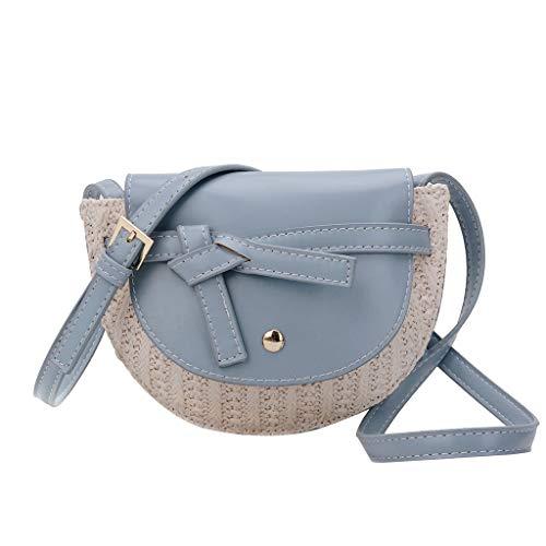 XZDCDJ UmhängeTaschen Damen Damen Mode Ledertasche Messenger Bag Woven Bag Umhängetasche Blau -