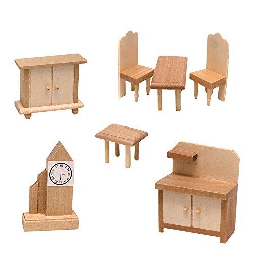 Puppenmöbel Set Küche 7-teilig Puppenhauszubehör Puppenhaus Zubehör Austattung