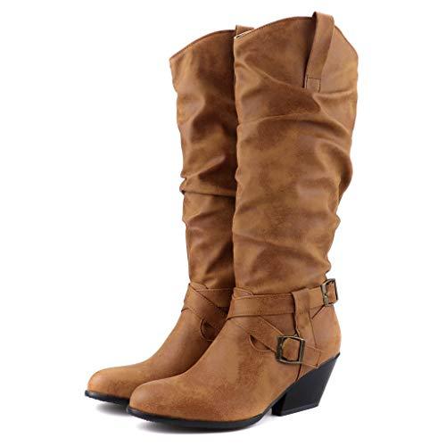SEHRGUTGE Damen Retro Slouch Stiefel, Wedge Block Heel Western Mid Calf Stiefel, Cross Buckles Straps -