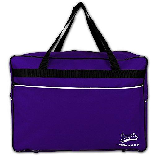Reisetasche 44 Liter - Handgepäck - Bordcase - Bordgepäck - Handtasche - Reisetasche Flugzeug mit Farbauswahl (Schwarz) Lila