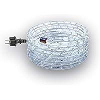 GEV Juego de manguera de luz LED 10987, 24m, klalt Color Blanco, 230V, steckerfertig, para interior y exterior, 13mm de diámetro, Fiesta, Navidad, bombilla decorativa, IP 44, plástico, blanco frío, 24000X 1,3X 1,3cm