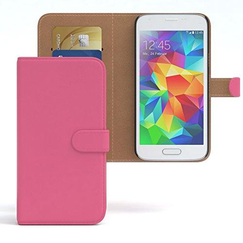 flipcover s5 EAZY CASE GmbH Hülle für Samsung Galaxy S5 Mini Bookstyle mit Standfunktion, Book-Style Case aufklappbar, Schutzhülle, Flipcase, Flipstyle, Flipcover mit 2 Kartenfächern aus Kunstleder, Pink
