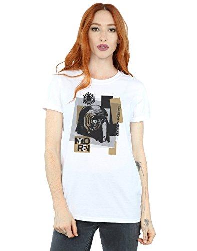 Star Wars mujer The Last Jedi Kylo Ren Patchwork Camiseta Del Novio Fit Large Blanco