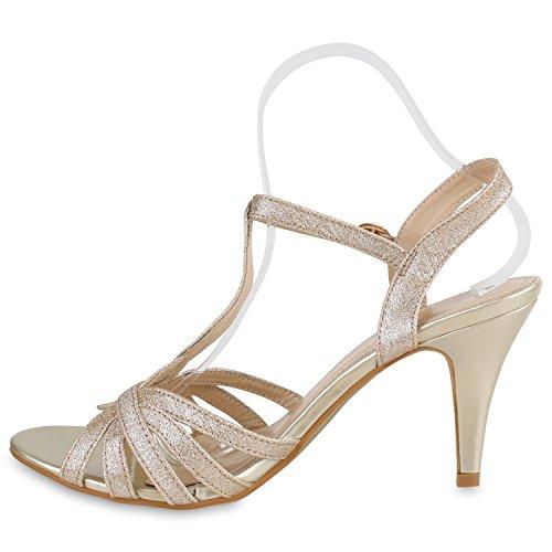 Damen Riemchensandaletten | Glitzer Sandaletten Metallic | Stilettos High Heels | Sommer Party Schuhe | Abiball Hochzeit Brautschuhe Gold Riemchen Glitzer