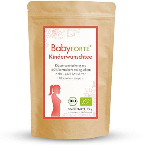BabyFORTE Kinderwunschtee/Hibbeltee für Frauen • 75g Bio-Kräuterteemischung • 100% bio • Mit Frauenmantelkraut, Himbeerblättern, & Zitronengras