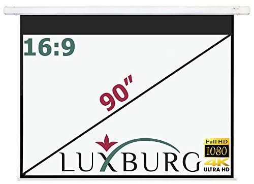 """Luxburg Motor Leinwand 203x115 cm (Diagonale ca. 90\"""" Zoll / 229 cm) Full HD 3D Beamer Leinwand elektrisch mit Fernbedienung - zur Deckenmontage/Wandmontage, mattweiße Oberfläche, Modell 2015"""