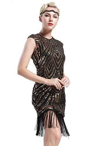 Girl 80's Party Kostüm - BABEYOND Damen Kleid voller Pailletten 20er Stil Runder Ausschnitt Inspiriert von Great Gatsby Kostüm Kleid  (S (Fits 68-78 cm Waist & 86-96 cm Hips), Gold und Schwarz)