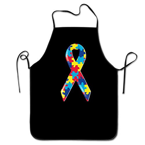 Yahui Autism Awareness Ribbon Bib Apron with Pockets (Black, 28.3 H X 27.5 W Inches) - Durable, String Adjustable, Machine Washable, Comfortable, Easy Care Stripe Ribbon Strap