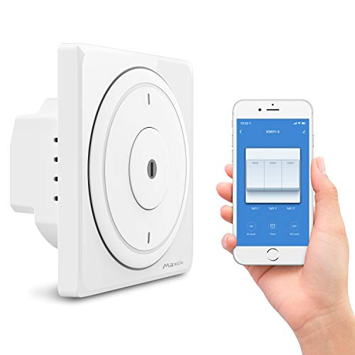 Alexa Interruptor de Luz Pared, Maxcio Interruptor WiFi Inteligente 3 Gang Compatible...