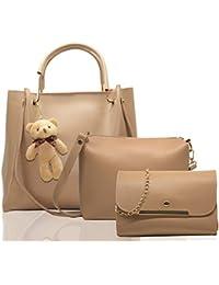 Fargo PU Leather Latest Stylish Handbags For Women's Ladies Combo Of 3 (Cream_Teddy_FGO-244)