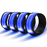 Tabiger LED Slap Armbands, 4-Pack High Visible Snap-On Bracelets Safety Wristband LED Flashing Lights Glow Arm Ankle Bands Reflective Gear for Night Running Dog Walking Concert Outdoor Sports