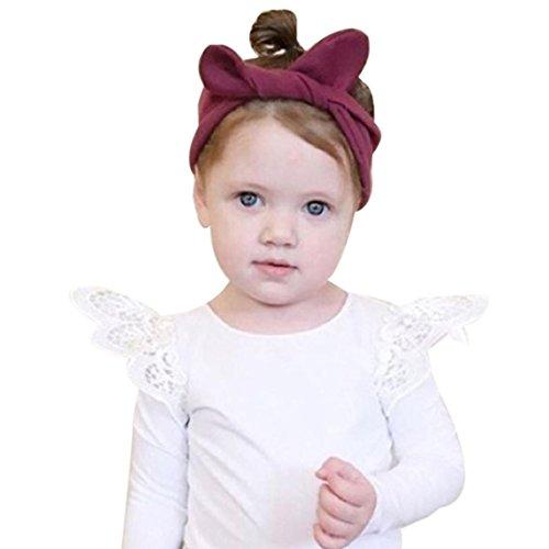Amlaiworld Baby Mädchen Blumen Spitze Langarmshirt Winter Kleinkind warm Engel pullis,0-24Monate (Weiß, 18 Monate) -