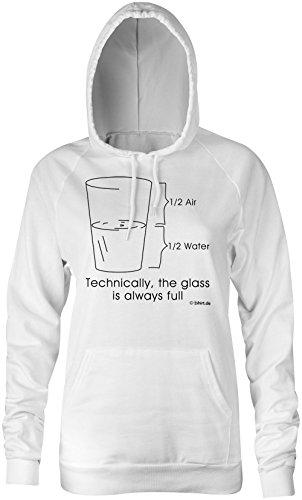 Wasser Glas �?Hoodie Kapuzen-Pullover Frauen-Damen �?hochwertig bedruckt mit lustigem Spruch �?Die perfekte Geschenk-Idee für Geburtstag, Muttertag oder zum Jubiläum (02) weiss