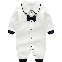 Nouveau-né Bébé Combinaison Coton Barboteuse à Manches Longues Pyjama Gentilhomme Tenues 0-3 Mois