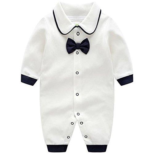 Bambino pagliaccetto cotone jumpsuit manica lunga pigiama abiti da gentiluomo 3-6 mesi