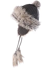 BRUBAKER Damen Tschapka Volumenmütze Fellmütze, breiter Rippstrick mit Fleece Innenfutter