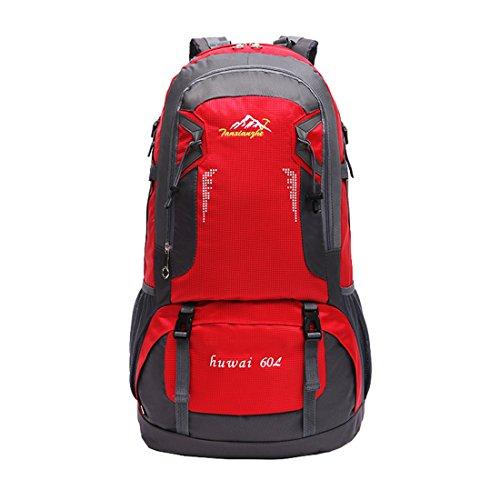 Sac Trekking Etanche - Landove Cartable Sac à Dos Randonnée Nylon Imperméable Sacs de Voyage Alpinisme Camping 60L Grande Capacité pour Femme Homme rouge