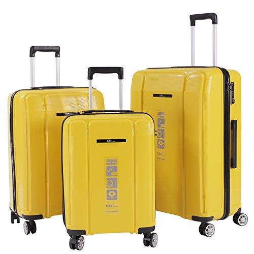 3er SET: Koffer Trolley Reisekoffer Hartschalenkoffer 3-tlg Set ( M: 47 Liter + L: 77 Liter + XL: 118 Liter) mit 4 Doppelrollen