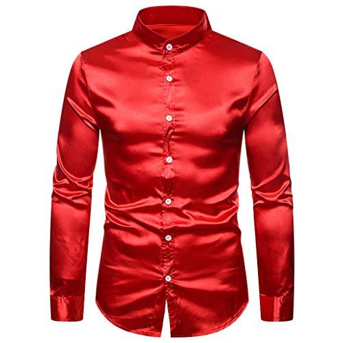 Aoogo Herren Hemd Einfarbiges Freizeithemd Langarmhemd Stilvolle Herren Casual Fashion Glossy Langarm Henry Kragen Shirt