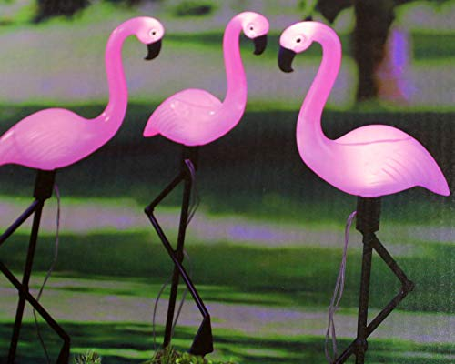 Kamaca 3er Set LED Solar Gartendeko Flamingo LED Solar Figur Dekorationsleuchte mit integriertem SOLARPANEL originelle witzige GARTENDEKO (3er Set LED Solar Flamingo)