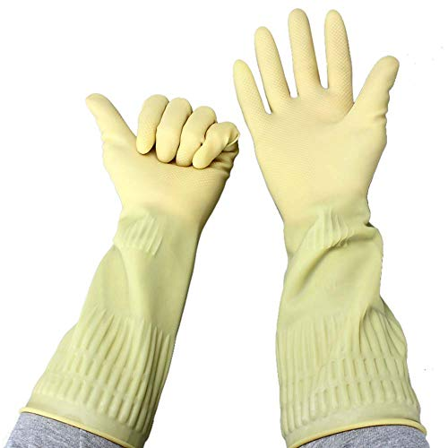 2 Paar 38 cm Latex-Handschuhe mit langer dicker Säure- und alkaliresistenter Handschuhe, Industrie-Schutzhandschuhe, Haushaltshandschuhe -